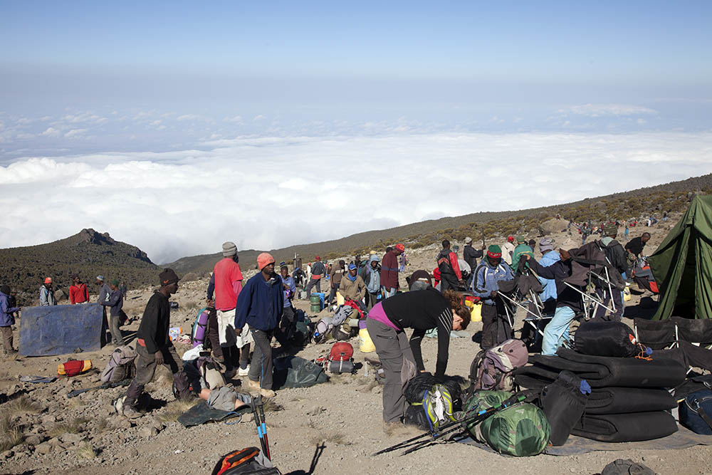 Breaking camp, Lava Tower, Mt Kilimanjaro