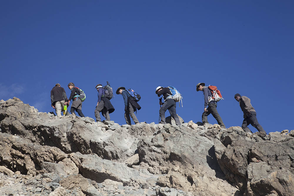 Hikers on Mt Kilimanjaro