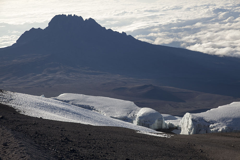 Mt Mawenzi and icefields from the summit of Kilimanjaro